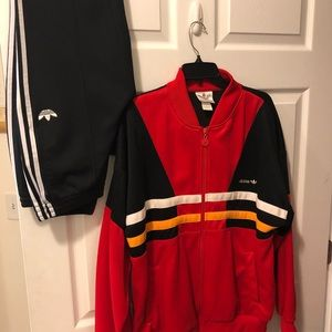 Adidas Superstar Red/Black Track Jacket& Pants